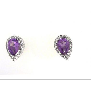 925 Sterling Silver Halo Amethyst Earrings