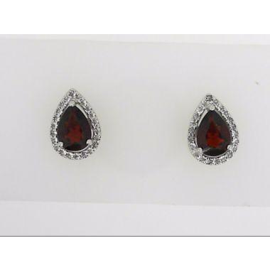 925 Sterling Silver Halo Garnet Earring Studs