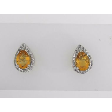 925 Sterling Silver Halo Citrine Studs