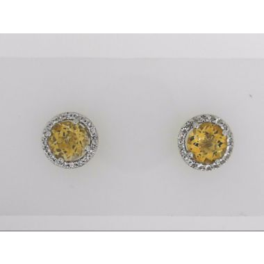 925 Round Halo Citrine Stud Earrings