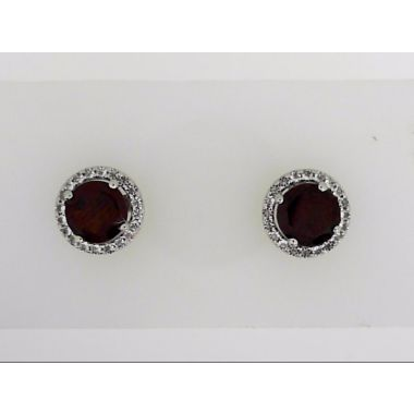 925 Sterling Round Halo Garnet Earring Studs