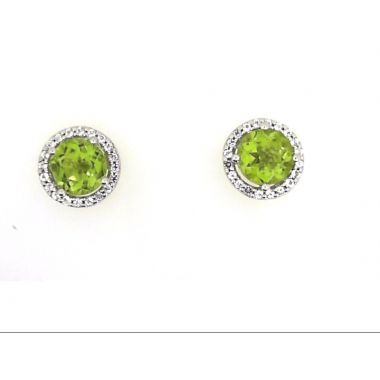 925 Sterling Silver Peridot Halo Stud Earrings
