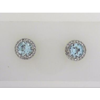 925 Sterling Silver Halo Blue Topaz Stud earrings