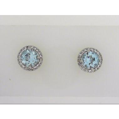 925 Sterling Silver Halo Blue Topaz Stud earrings