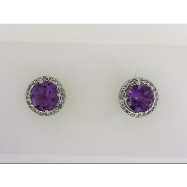 925 Sterling Silver Halo Amethyst Stud Earrings