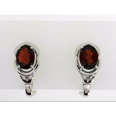 925 Sterling Silver Oval Garnet Fashion Earrings