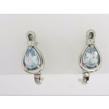 925 Sterling Silver Pear Shape Blue Topaz Fashion Earrings
