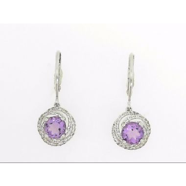 925 Sterling Silver Dangle Halo Amethyst Earrings