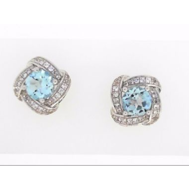 925 Sterling Silver Halo Twist Blue Topaz Fashion Earrings