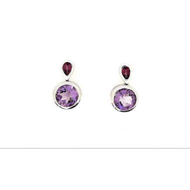 925 Sterling Silver Dangle Amethyst Fashion Earrings