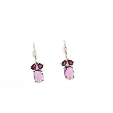 925 Sterling Silver Amethyst Fashion Earrings