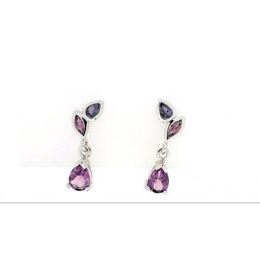 925 Sterling Silver Drop Amethyst Earrings 2.29 Carat
