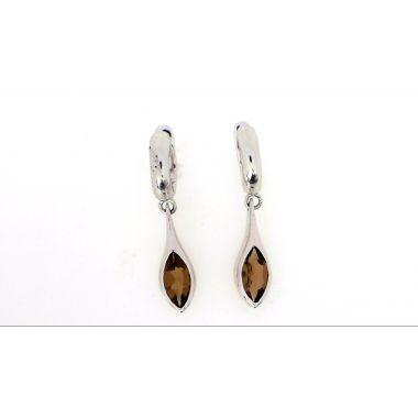 925 Sterling Silver Dangle Chocolate Quartz Earrings