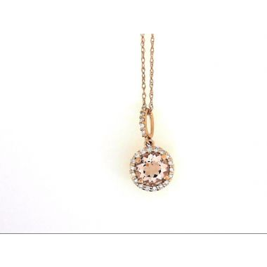 14k Rose Gold Diamond Halo Morganite Fashion Pendant