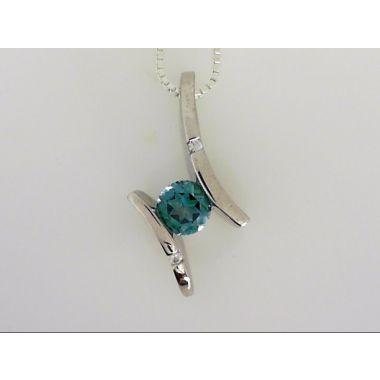 925 Sterling Silver Bluish/Green Topaz Pendant