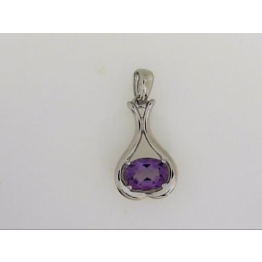 925 Sterling Silver Amethyst Oval Pendant