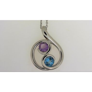 925 Sterling Silver Free-Form Multi-Color Fashion Pendant
