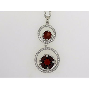 925 Sterling Silver Double Halo Garnet Fashion Pendant
