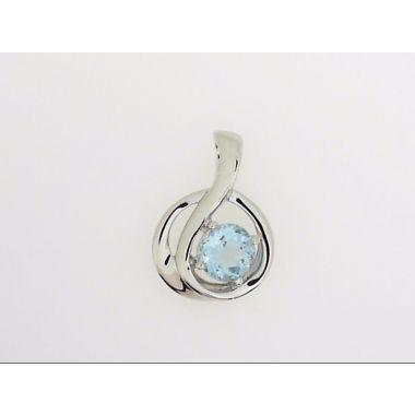 925 Sterling Silver Free-Form Blue Topaz Fashion Pendant