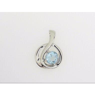 925 Sterling Silver Free-Form Blue Topaz Fashion Pendant