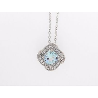 925 Sterling Silver Halo Blue Topaz Pendant & Cable Chain