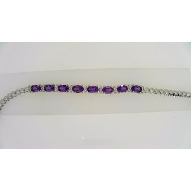 925 Sterling Silver Amethyst Bracelet