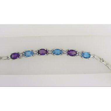925 Sterling Silver Multi-Color Fashion Bracelet