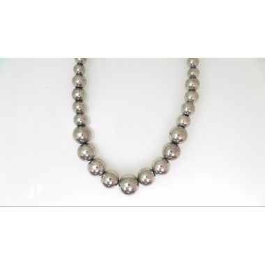 "Sterling Silver Polished Bead Necklace 17"" Graduated 6-12mm"