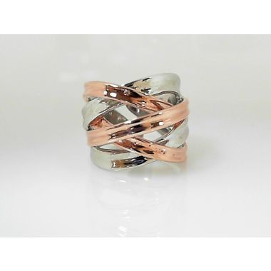 925 Sterling Silver & Rose Free Form Fashion Ring