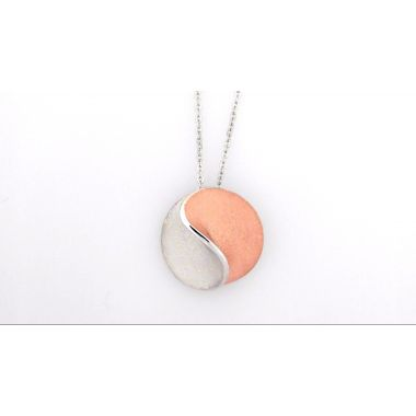 Jorge Revilla Sun Modern Fashion Pendant Rhodium/Rose Finish