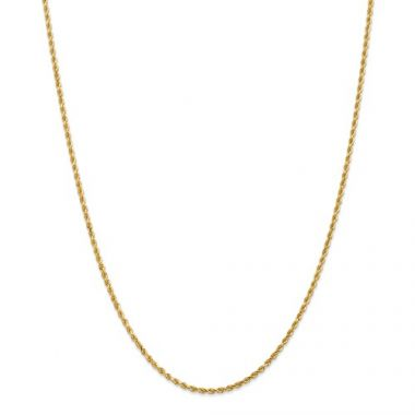 10k 2mm Solid Gold Diamond Cut Rope Chain