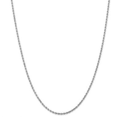 14k White Gold 2mm Solid Diamond Cut Rope Chain
