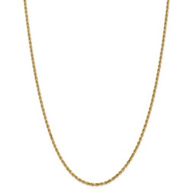 10k 2.25mm Solid Gold Diamond Cut Rope Chain