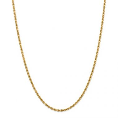 14k 2.75mm Solid Handmade Diamond Cut Rope Chain