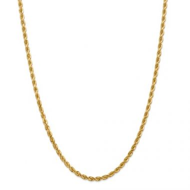 14k 4mm Solid Diamond Cut Rope Chain