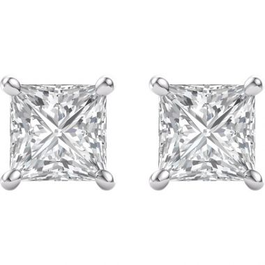 .76 CTW Princess Cut Diamond Stud Earrings