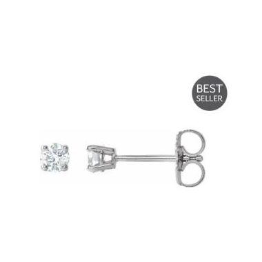14k White .30 Carat Diamond Studs