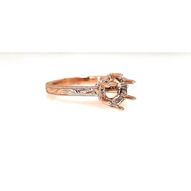18k Rose Gold Diamond Cut Semi Mount Engagement Ring