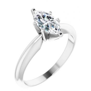 14k White Gold Solitare Engagement RIng with 3/4 Carat Marquise
