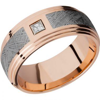 Lashbrook 14k Rose Gold Meteorite 9mm Men's Wedding Band