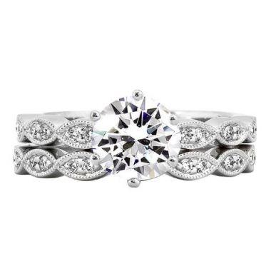 14k White Straight Diamond Engagement Ring Semi-Mount
