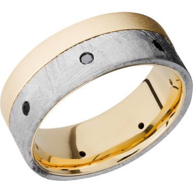 Lashbrook 18k Yellow Gold Meteorite Men's Wedding Band