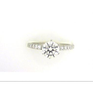 Platinum 1/4 Carat Straight Diamond Engagement Ring Semi-Mount