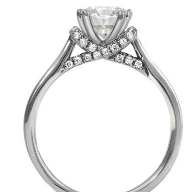 14k White Gold Diamond Engagement Ring 1-1.25 Carat Round Semi-Mount