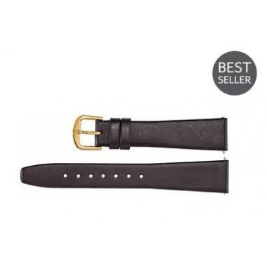 Genuine Short Black Leather Flat Watch Band