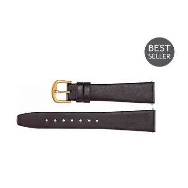 Genuine Regular Black Leather Flat Watch Band
