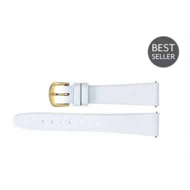 Genuine Regular White Leather Flat Watch Band