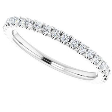 14K White 1/3 CTW Diamond Eternity Band Size 4.5