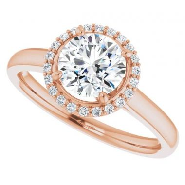 14k Rose 1 Carat Round Semi-Mount Engagement Ring