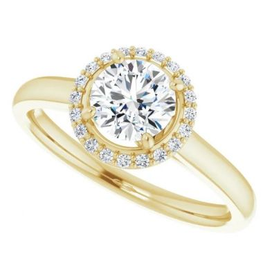 14k Yellow Round Diamond Engagement Ring Semi-Mount